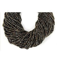 Black Spinel Gold Coated Faceted Rondelle Beads