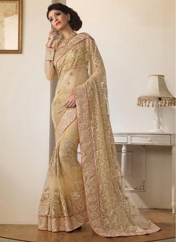 e77bd5650c Golden Color Embroidery Saree in Surat, Gujarat - YOGRAJ SAREES