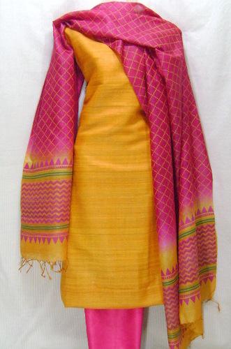 Ghicha Jute Silk Block Printed Dress Fabrics
