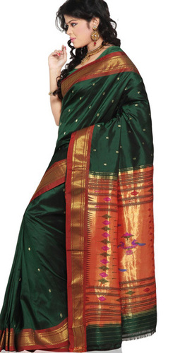 0962ee00086897 Bottle Green Paithani Silk Saree With Red Pallu in Kolkata, West ...