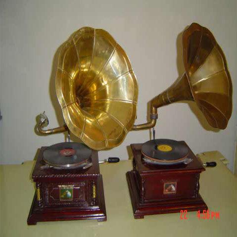 gramophone with brass sound box
