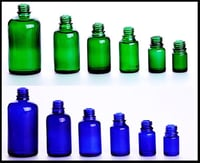 Blue and Green Amber Bottles