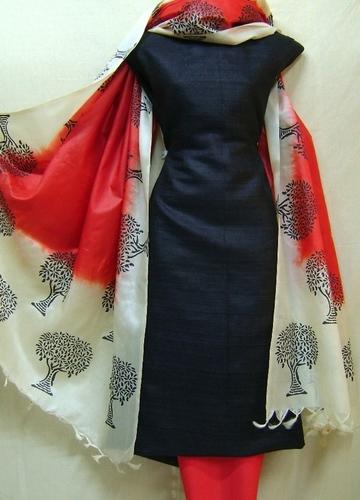 Black And Red Ghicha Jute Silk Block Printed Salwar Kameez Dress Fabric