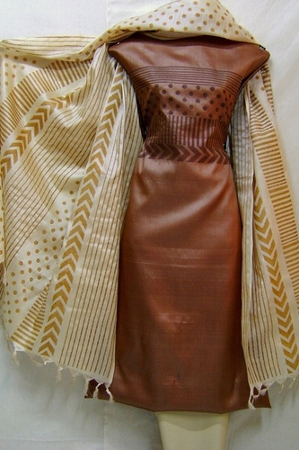 Brown and Beige Tussar Silk Block Printed Salwar Kameez Dress Fabric