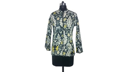 Cotton Quilted Jacket Reversible Full Sleeves Floral