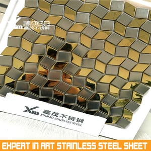 304 Mirror Black Rectangle Of Stainless Steel Mosaic Tiles