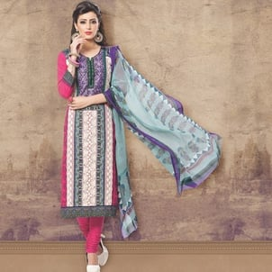 Pink Embroidered Cotton Dress Material