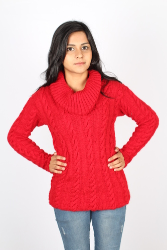 Ladies Knitted Cowl Neck Pullover in   Sector 70