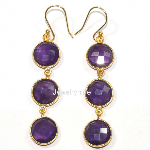 Amethyst Bezel Earrings