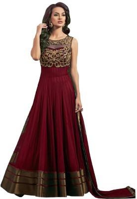 1546d4c4e3 Maroon Color Soft Net Fabric Heavy Embroidered Semi Stitched Designer  Anarkali Gown Suit