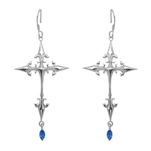 Silver Cross Earring With Iolite
