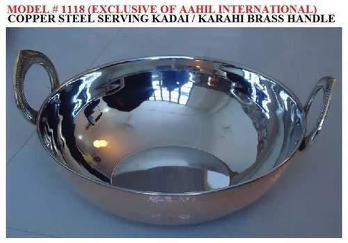Copper Steel Serving Kadai