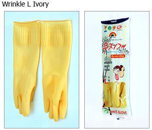 Wrinkle Rubber Ivory Gloves (L)