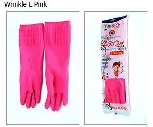 Wrinkle Rubber Pink Gloves (L)
