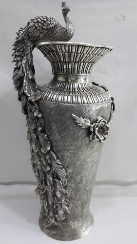 Decorative Handcrafted Silver Peacock Flower Vase