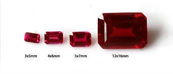 Emerald Cut Synthetic Ruby Gemstone in  Vasna