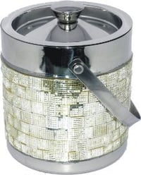 Handcrafted Double Walled Ice Bucket with Silver Mosaic finish