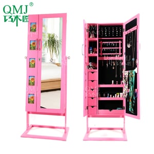 Floor Standing Mirror Jewelry Cabinet And Photo Frame