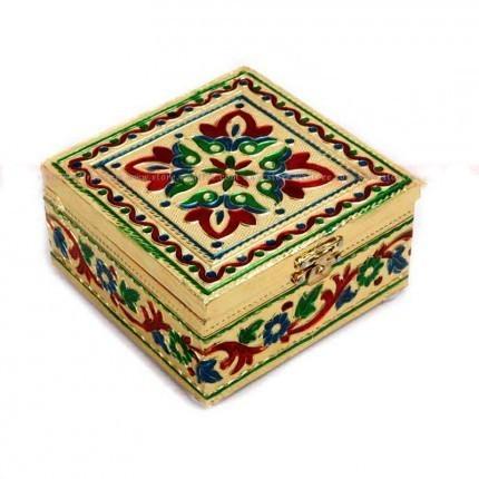 Minakari Gold Jewelry Box Small 4x4