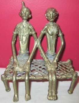 Brass Tribal Couple Sculpture