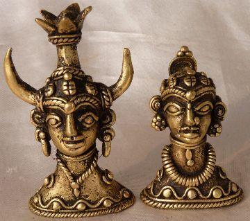 Brass Tribal Heads Sculpture
