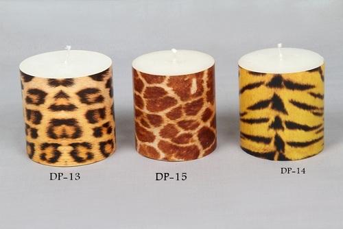 Animal Print Designer Pillar Candle