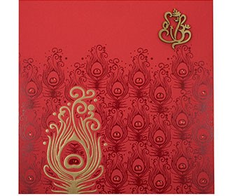 Hindu Marriage Invitation Card In Red And Golden Peacock