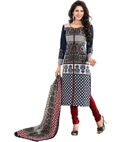 Full Sleeves Unstitched Cotton Suit