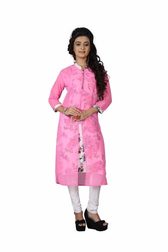 Ladies Long Pink Kurtis
