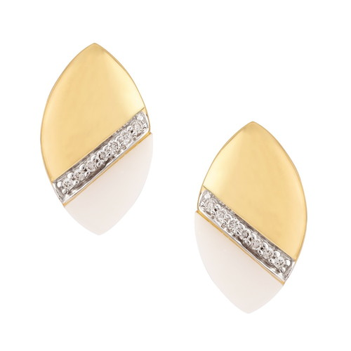 Yellow Gold Diamond And Agate Stud Earrings
