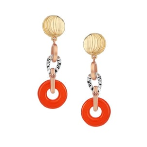 Yellow Gold Onyx Simulated Coral Lapis Lazuli Drop Earrings