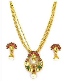 Adroit Studded Designer Semi Bridal Polki Jewellery Necklace Set With Clear Red Stones Bridal & Wedding Party Jewelry