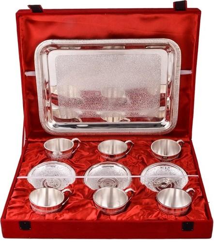 Decorative 13 Pcs Silver Plated Brass Tea Saucer Set