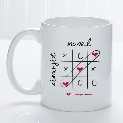 Love Always Wins Couple Names Personalised Mug
