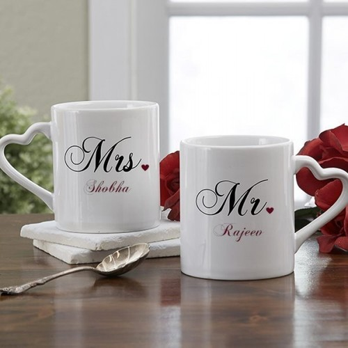 Wedding Gifts For Couple.Mrs Mr Couple Names Personalized Heart Handle Mug Wedding Gifts
