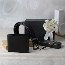 Leather Belt Wallet and Pen In Gift Box