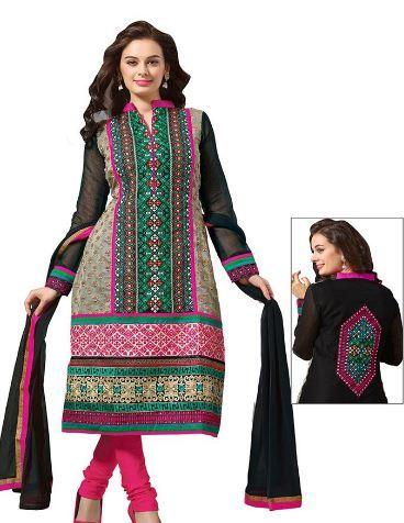 Beige and Black Designer Unstitched Salwar Suit