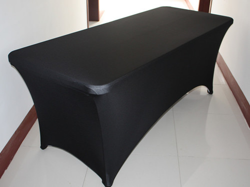 6' Rectangular Fitted Stretch Spandex Table Cover (Black)