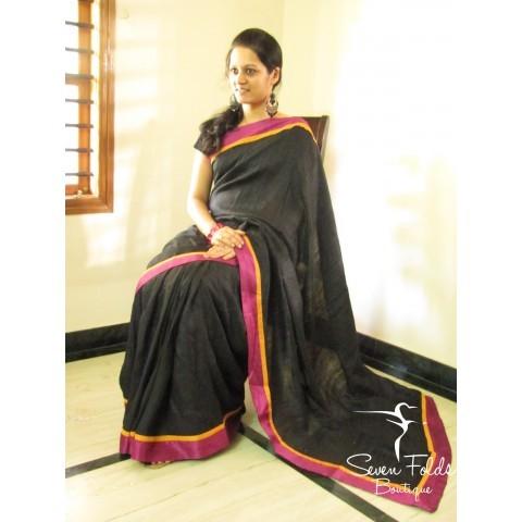 Black Tussar Silk Designer Saree