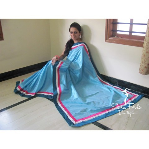 Blue Pearly Designer Saree
