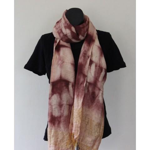 Cotton Silk Hand Made Shibori Dupatta Brown