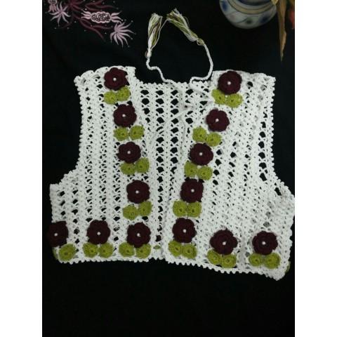 Crochet Ivory Colored Half Jacket