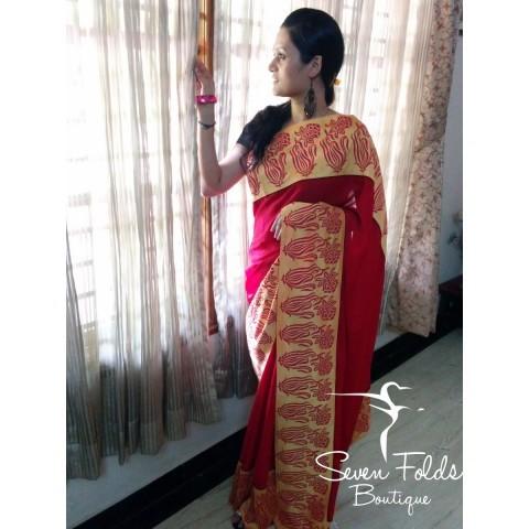 Dashing Red n Yellow Designer Saree
