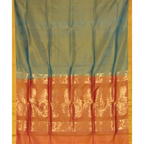 Double Shaded Pista Green Handwoven Silk Saree