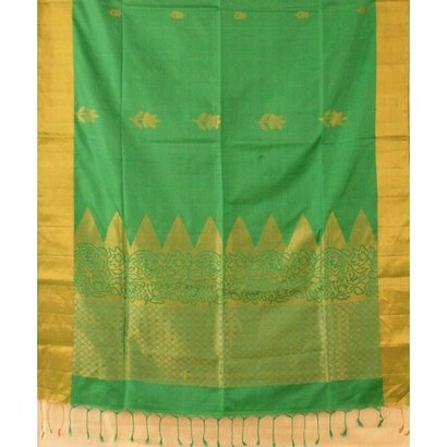 Green and Golden Zari Diamond Motif Silk Saree