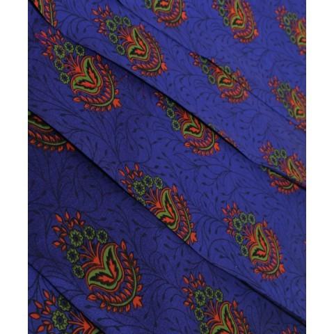 Handwoven American Blue Printed Silk Khadi Fabric