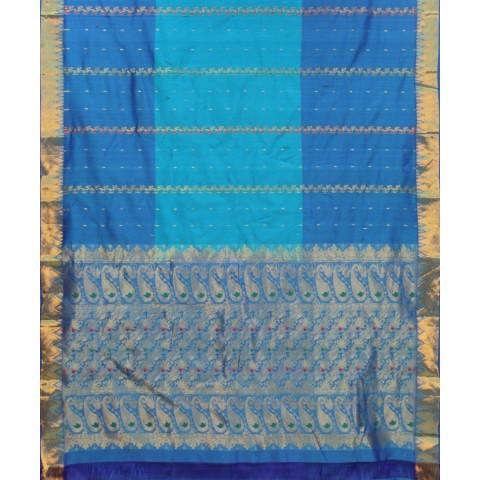 Handwoven Blue Shade Meena Silk Cotton Saree