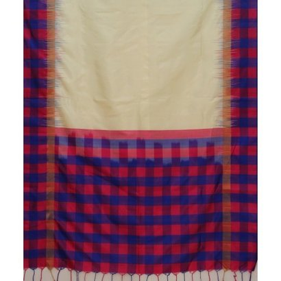 Handwoven Cream and Check Silk Saree