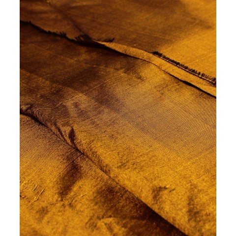 Handwoven Mustard Brown Silk Khadi Fabric