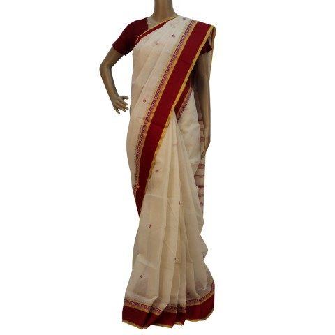 Handwoven White and Red Cotton Saree